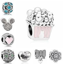 Fresh Style Pink Dog Apple Mickey Moon Popcorn Stars Love Heart Crystal Beads Charm Fit Pandora Bracelet for Women DIY Jewelry(China)