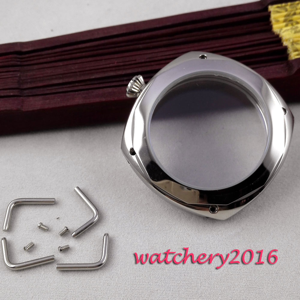 New 45mm parnis polished stainless steel case hardened mineral glass fit 6497 6498 ST 36 Molnija movement Watch Case