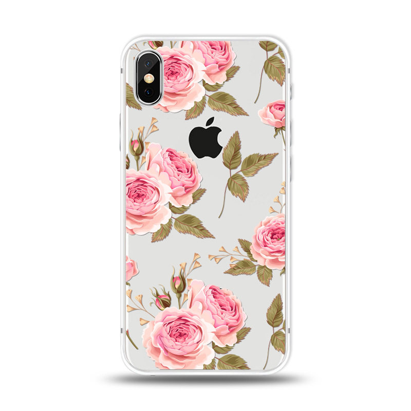 KIPX1027H_1_JONSNOW For iPhone 7 Flowers Pattern Soft Case For iPhone 6 6S 7 8 Plus Clear Back Cover for iPhone 5 5S SE Capa Coque Fundas