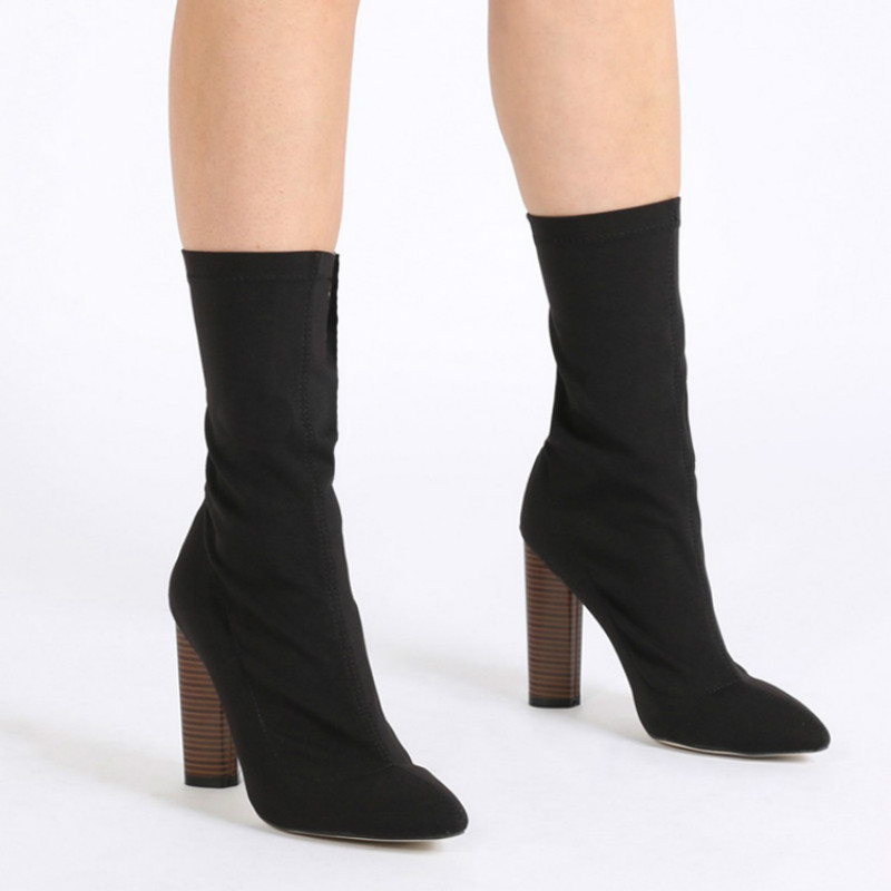 2017 Autumn Women's Mid-calf High-Heeled Boots Woman Shoes Plus Size 41 Star Kardashian Sexy Pointed Toe Zip Boots stretch sock double buckle cross straps mid calf boots