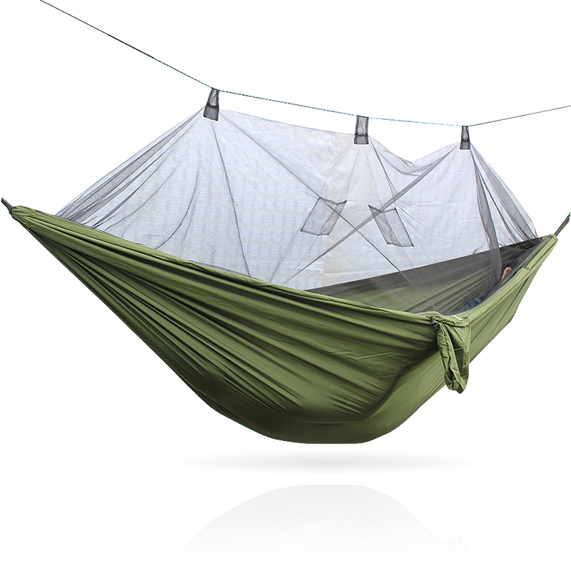 New Handy Portable Hammock Single-person Folded Into The Pouch Mosquito Net Hammock Hanging Bed For Travel Kits Camping 2 people portable parachute hammock outdoor survival camping hammocks garden leisure travel double hanging swing 2 6m 1 4m 3m 2m