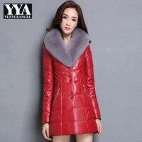 PU Для женщин кожаные пальто длинные черный, красный куртка из искусственной кожи Для женщин меховой воротник Slim Fit дамы плюс Размеры S 5XL толс