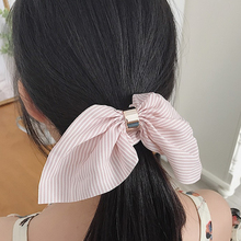Women Girls Striped Hair Ring Rope Bow knot Scrunchies Ponytail Holder Tie Cute Rabbit Ears Elastic Hair Band Hair Accessories lovely long ears rabbit ring holder