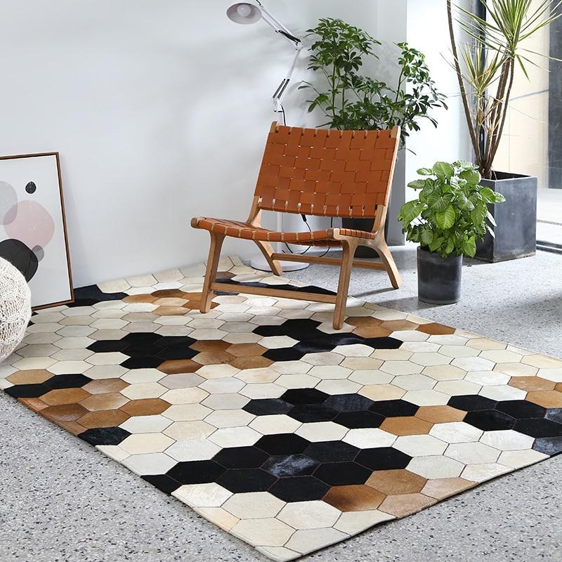 Peau de vache à la main couture grand tapis géométrique salon tapis canapé table pad chambre tapis chevet couverture