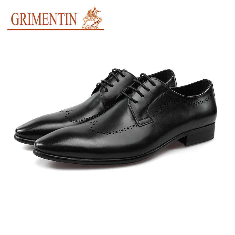 GRIMENTIN Men Dress Shoes Genuine Leather Lace Up Italian Designer Black Formal Business Wedding Shoes