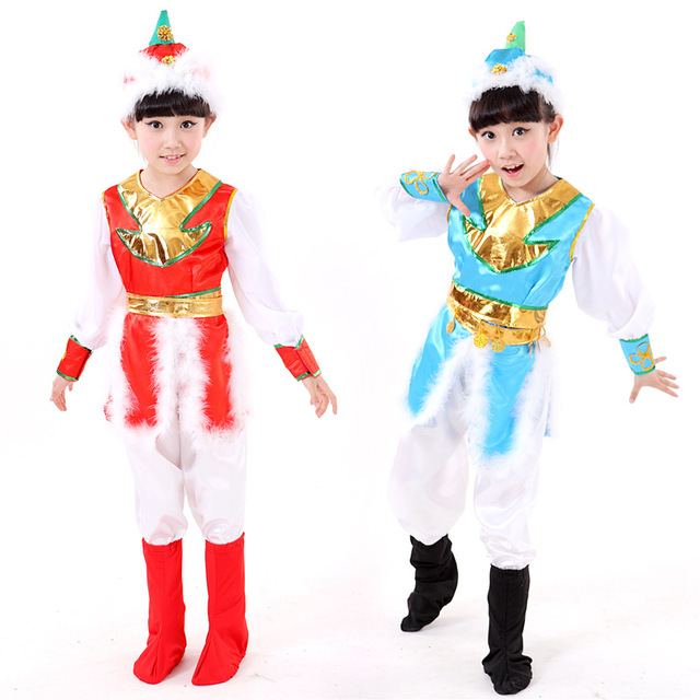 d0a3ee6ee 2018 new Kids Costume Mongolian Costume Stage performance clothing boys/girl  Dance Minority folk dance Clothing Apparel