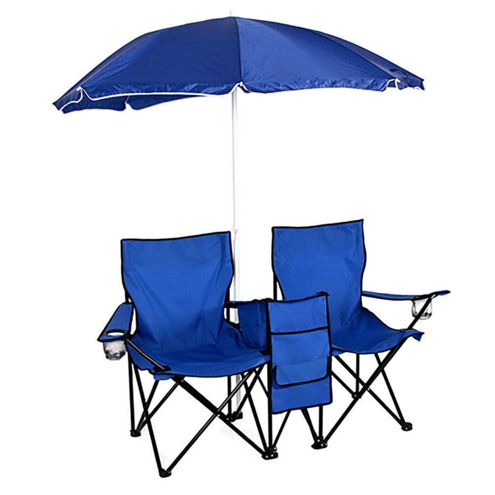 Portable Outdoor Fishing Chair 2 Seat Folding Chairs With Removable Sun Umbrella Blue For Camping Beach Sun UV Protection