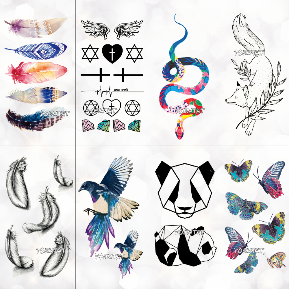 Cute Watercolor Cartoon Design Temporary Tattoo For Kids Children Feather Bird Panda Trasnfer Tattoo Stickers Women Girl Tatoos