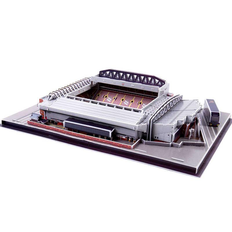 Classico Puzzle 3D Puzzle Di Architettura Inghilterra Anfield Liverpool I Rossi di Calcio Stadi Giocattoli Bilancia Modelli di Set di Costruzione di modello di Carta