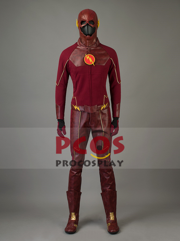 New Upgraded classic TV <font><b>The</b></font> <font><b>Flash</b></font> Barry Allen <font><b>Cosplay</b></font> Costume & Mask & <font><b>Boots</b></font> mp002516 image