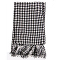 2015 High Quality Autumn Winter Black White Plaid Chenille Scarves Shawl with Tassels Elegant Women Men Crochet Scarf 165*25cm