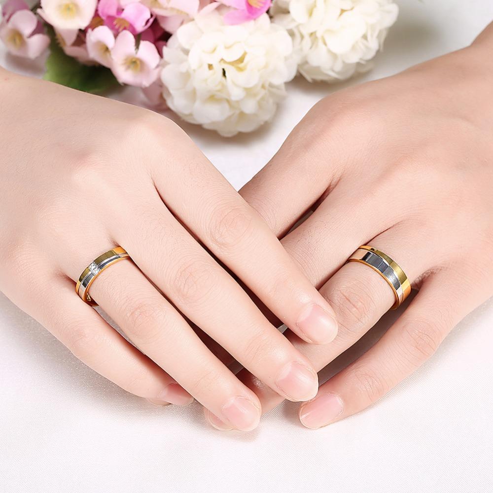 Wedding Brand Alliance Ring Gold Color Pair Woman Rings Female Set ...