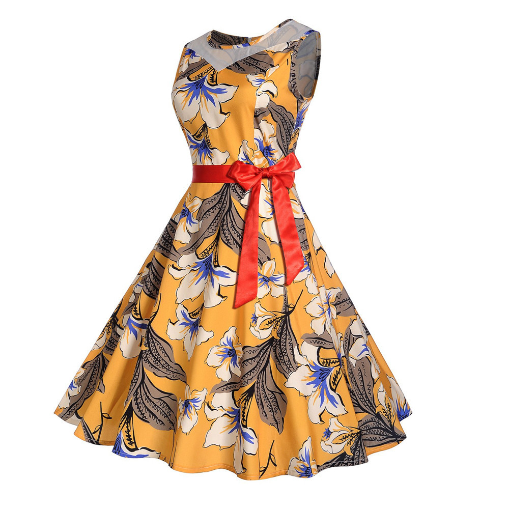 Women Vintage Printing Bodycon Sleeveless Halter Evening Party Prom Swing Dress woman dress 2018 spring summer Fashion Casual