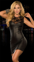 Sexy Lingerie Women Leather Dress Lace Patchwork Pole Dance Black Red Short Sleeve O Neck Plus Size