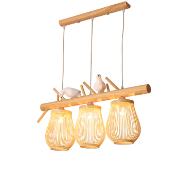 Chinese Birds Loft Bamboo LED Chandelier Pendant Lamps Bedroom Living Room Restaurant Lighting Decorative Home Lighting Fixtures