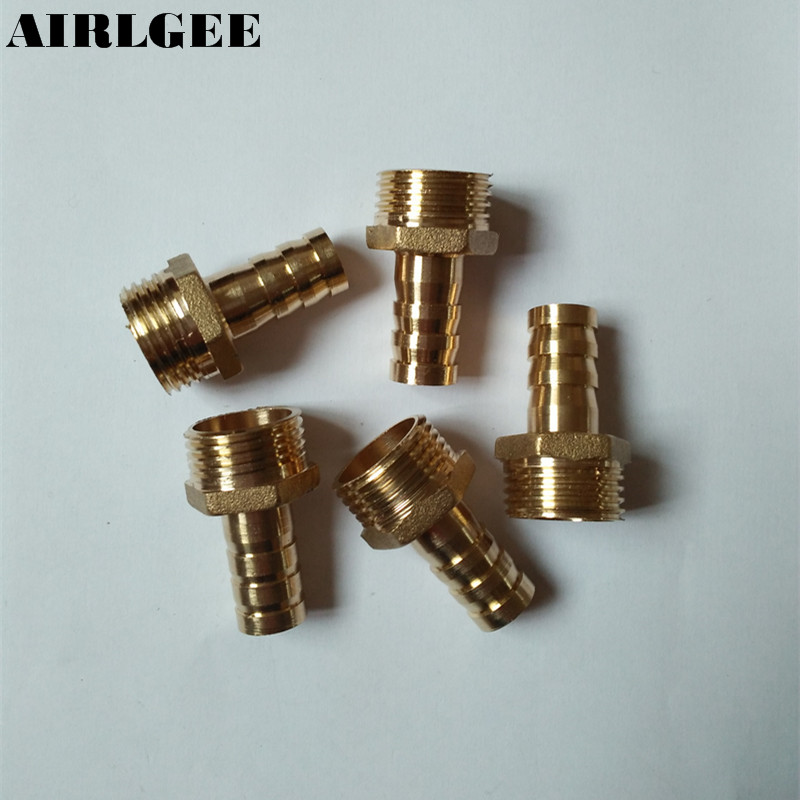 5 Pcs 8mm Water Gas Air Hose Barb 1/2 PT Thread Brass Straight Connector cwx 25s brass motorized ball valve 1 2 way dn25 minitype water control valve dc3 6v electrical ball valve wires cr 02
