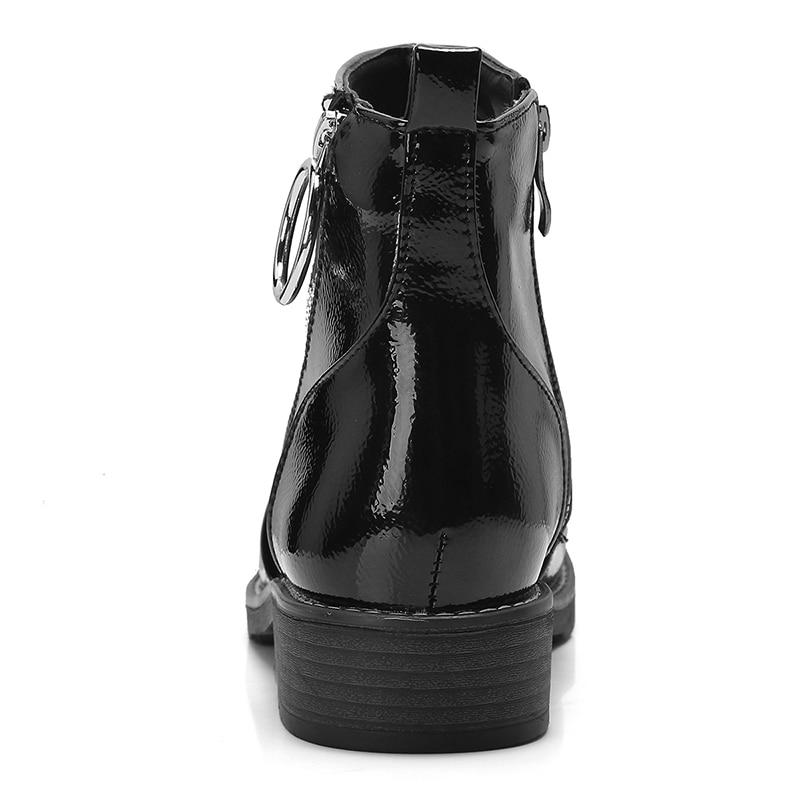 rojo Para Mujeres Kcenid Tamaño Negros Tacones Zapatos Mujer Zip Invierno Motocicleta Plataforma Grande Botines Charol Botas Gruesos Apricot Otoño negro Las x8RYCwBYqF