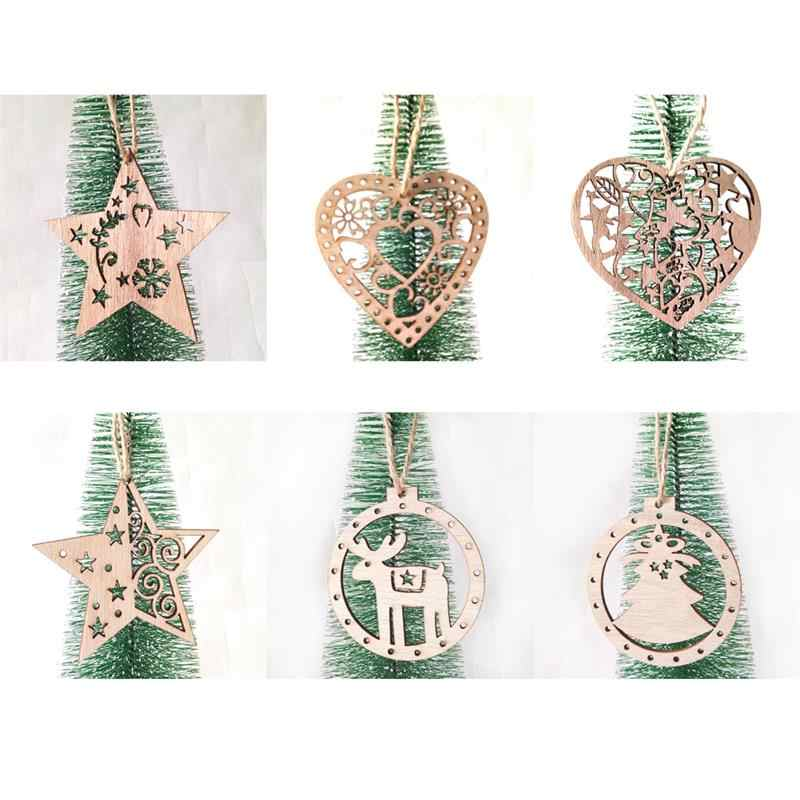 3PCS Christmas Hanging Ornament Nordic Wooden Vintage DIY Crafts Pendant Creative DIY Wood Craft Xmas Tree Decor Accessories