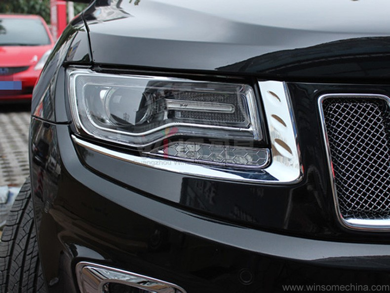 For Jeep Grand Cherokee 2014 2015 2016 2017 Chrome Headlight Cover Trim Abs Car Styling