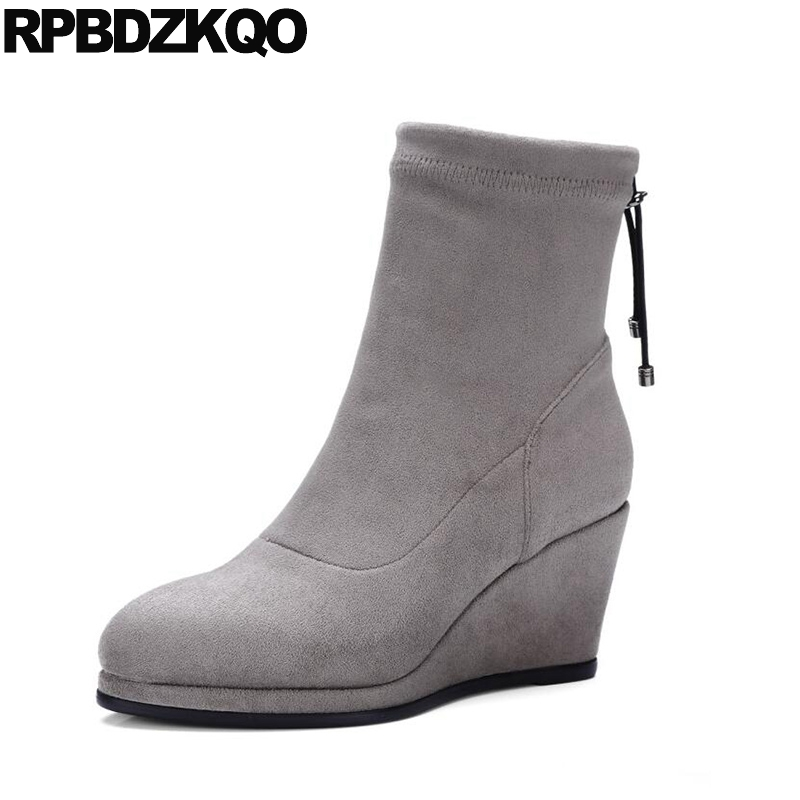 Fur Suede Fall 2017 Casual Gray Womens Boots Winter Wedge Round Toe Short Slip On Ankle High Heel Shoes Booties Female Ladies round toe korean version womens booties ankle block high heel princess full grain leather boots winter geometric mixed colors