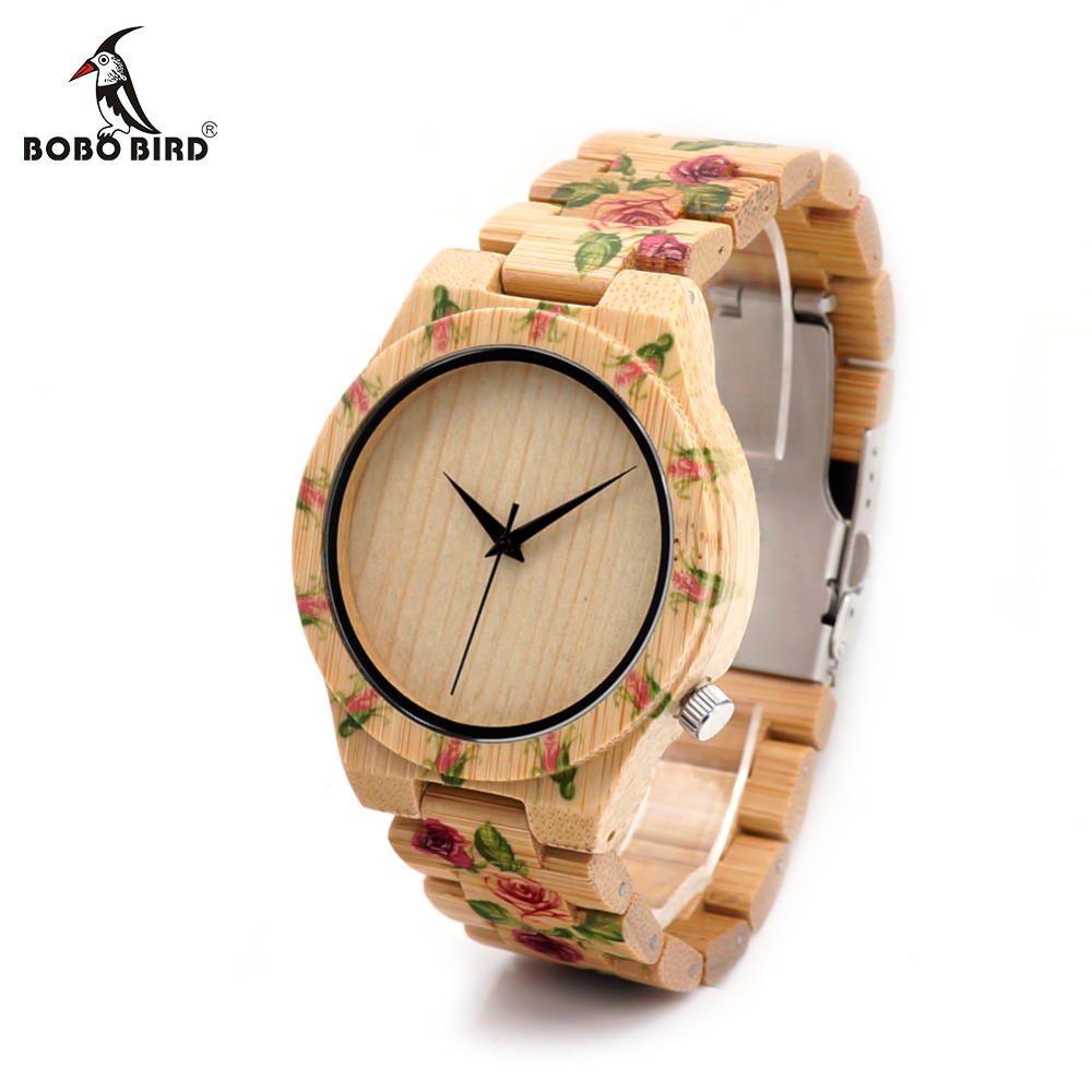 BOBO BIRD CdD21 Full Wooden Men Watches Handmade Printing Flowers Design Erkek Watches with Bamboo Strap as Gifts