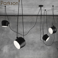 DIY vintage retro black pendant lights dining room aluminum drum designer industrial drums hanging lamp for coffee home decorate