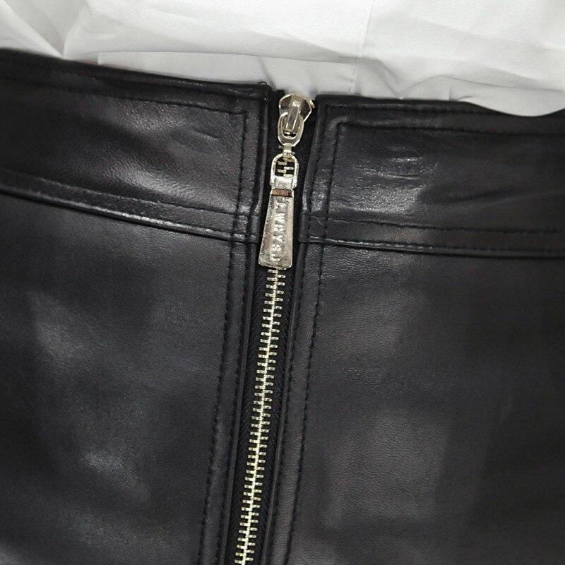 Taille Femmes Ruches Jupes Peau Mode De Véritable Minijupe En Bureau Grande Mouton Plaid Dames Ligne Fit Une Black Cuir Slim Zipper Sexy 4xl RqqUdEw