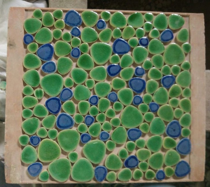 Blue Mixed Green Color Ceramic Pebble Mosaic Tiles For Wall And Floor Kitchen Backsplash Hallway