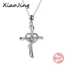 2018 New arrival 925 sterling silver love heart cross pendant chain necklace with CZ diy fashion jewelry making for girl gifts 925 sterling silver cross flower red cz beautiful biker rocker punk pendant 8a010 steel necklace 24