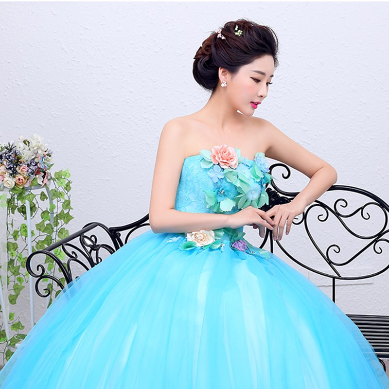 ruthshen Blue Quinceanera Dresses Strapless Debutante Prom Dress Flowers  Lace Sweet 16 Masquerade Ball Gowns Luxury Ball Gown-in Quinceanera Dresses  from ... 543581eaef86