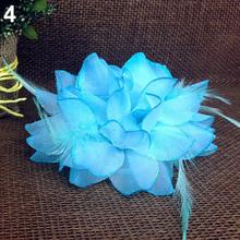 Hot Bridal Wedding Party Flower Fascinator Elastic Pin Hair Wrist Corsage Brooch Headband 5BQV 7GHA