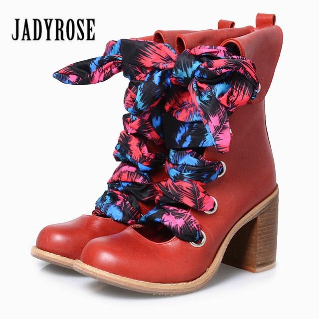 en Rose cuir Bottines Chunky véritable Women évidées Jady Red fn7PPF