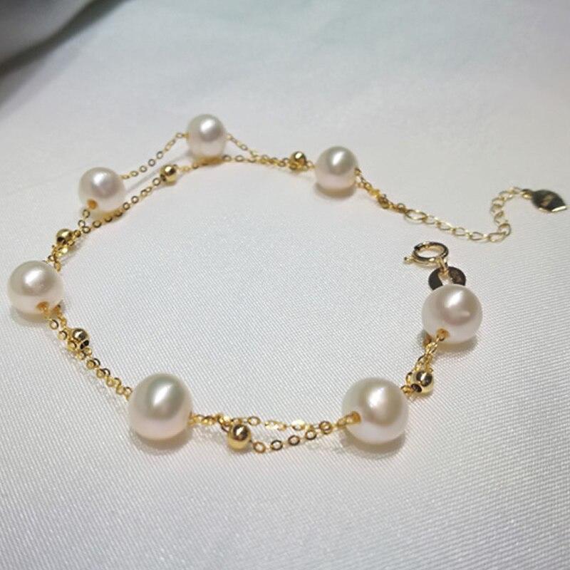 Solid AU750 Yellow Gold Bracelet Women Smooth Gold Beads Pearl Bracelet недорго, оригинальная цена