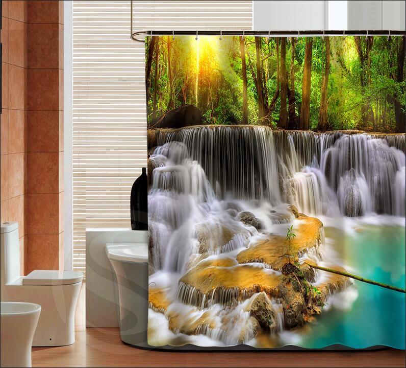 Bathroom Art Size: 3D Waterfall Landscape High Quality Custom Shower Curtain