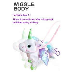 Image 2 - Jeriwell 35cm חשמלי הליכה Unicorn בפלאש מצחיק צעצוע מדבר צעצוע חד קרן שירה מוסיקה ממולא צעצוע לילדים ילדים מתנה