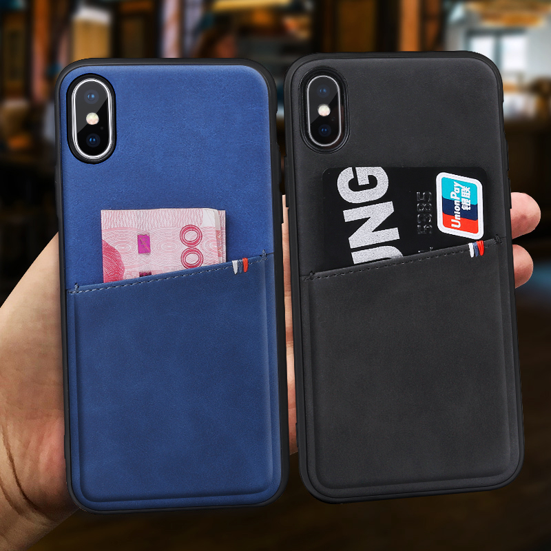 YAGOO wallet phone case for iphone X 7 plus case silicon frame leather back cover for iphone X 8 plus luxury fundas black