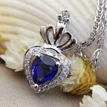 18K White Gold 0 577ct Natural Sapphire 0 110ct Diamond Pendant Necklace Fine Jewelry Perfume Bottle