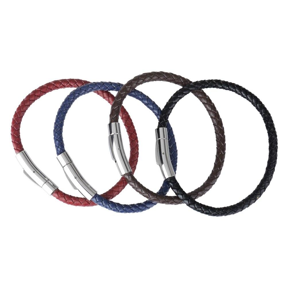 Kirykle-Bracelet en cuir véritable pour hommes et femmes, breloque tressé en acier inoxydable, bijoux, offre spéciale 5