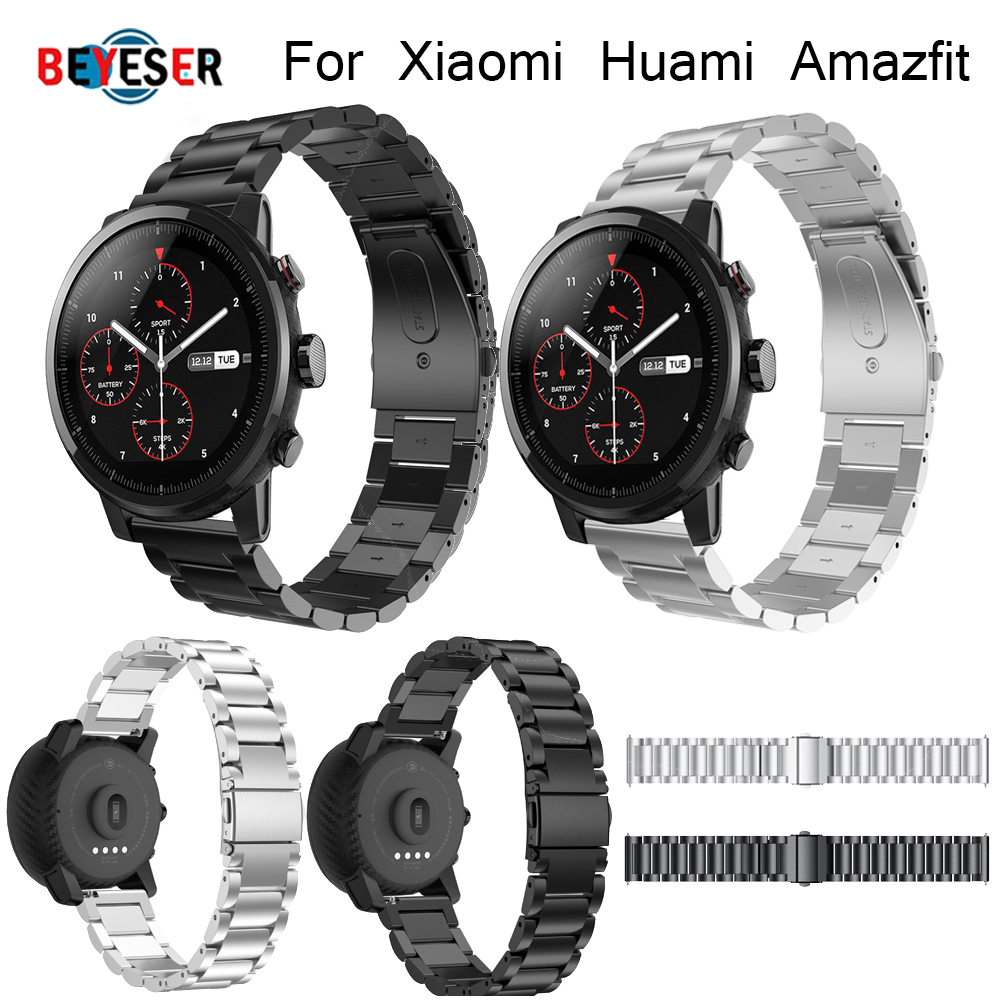 22mm Width Band for Xiaomi Huami Amazfit Pace Stratos 2 2S Strap with pin Metal Stainless Steel Bracelet Quick Release Watchband