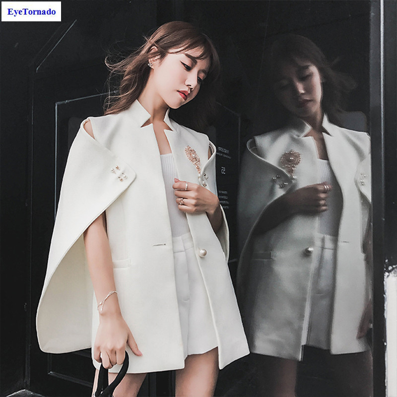 Women pearls beading batwing sleeve short cloak spring autumn casual work party poncho white OL party cape coat 9998