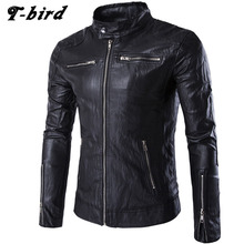 T-bird Jacket Men Winter 2017 Coat Male Bomber Jacket Men Stand Collar Leather Large Size   Brand Outwear Mens Jackets Clothing