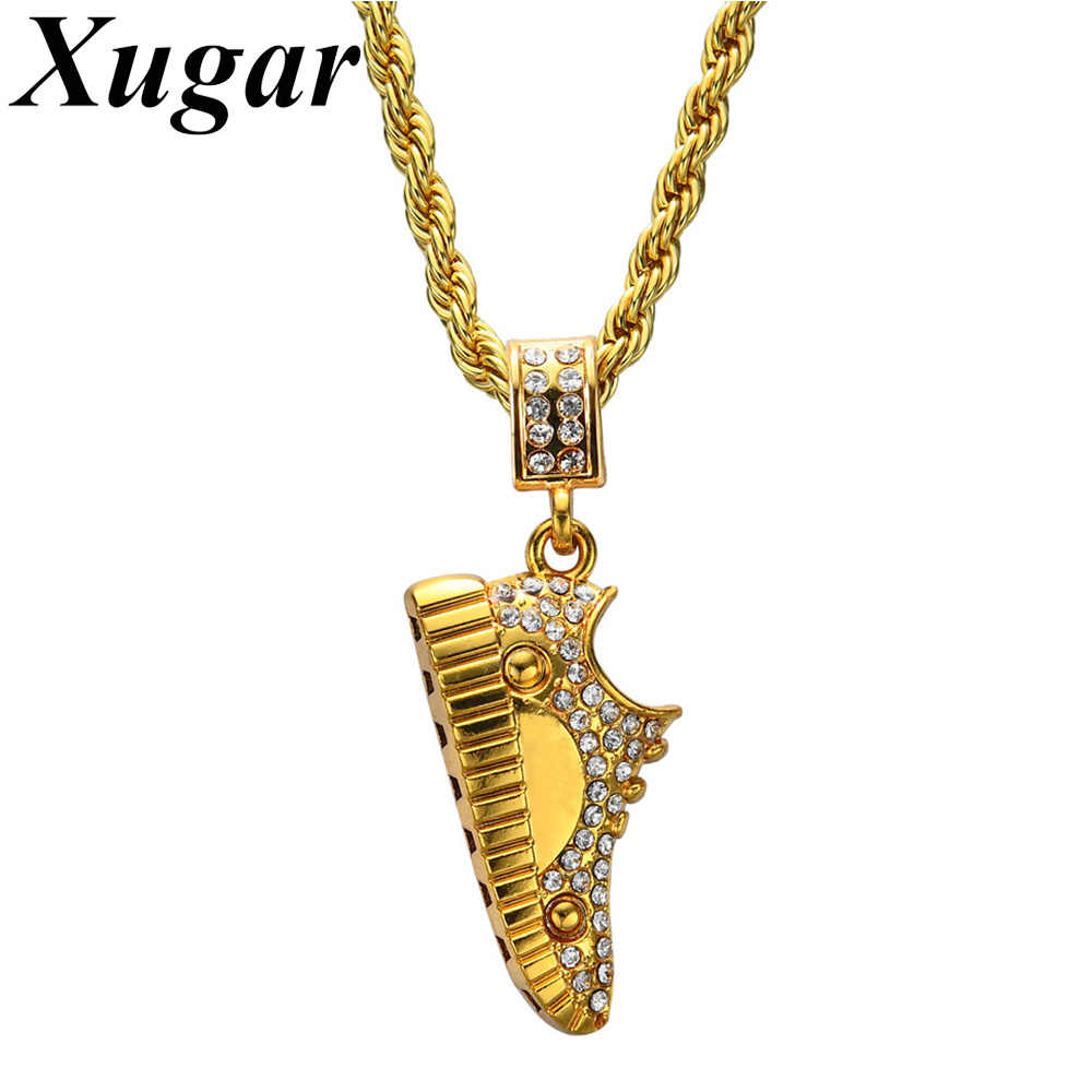 1c70a908e4eaa Stainless Steel Rope Chain Hip Hop Men Women Shoe Pendant Necklace Gold-color  Rhinestone Jewelry