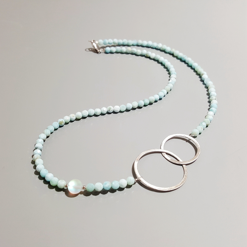 Lii Ji Larimar Natural Stone Necklace 925 Sterling Silver 18K Plated Geometric Double Circle Necklace 45cm