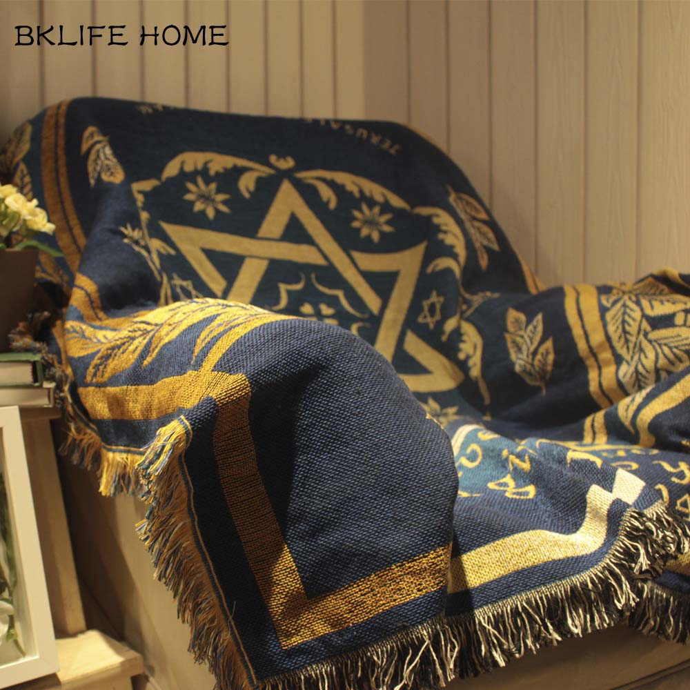 Multifunction Cotton Rug Israel Flag Pattern Sofa Blanket Living Room Bedroom Soft Carpet Bedspread Tablecloth Tapestry