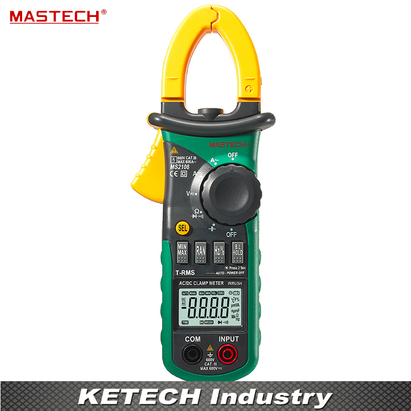 Professional Digital Clamp Meter True-rms Inrush Current 66mF Capacitance Frequency Measurement Mastech MS2108 mastech ms2108s digital ac dc current clamp meter true rms multimeter capacitance frequency inrush current tester vs ms2108
