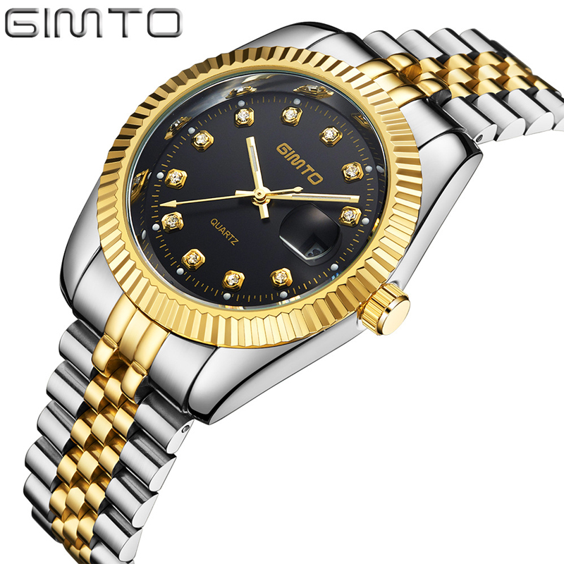 Male Quartz Luxury Wrist Watch Famous Brand Gold Stainless Steel Original Calendar Waterproof Clock Relogio Masculino Hodinky 37 puff snack machine mini corn puffing machine puffed rice snacks extruder zf