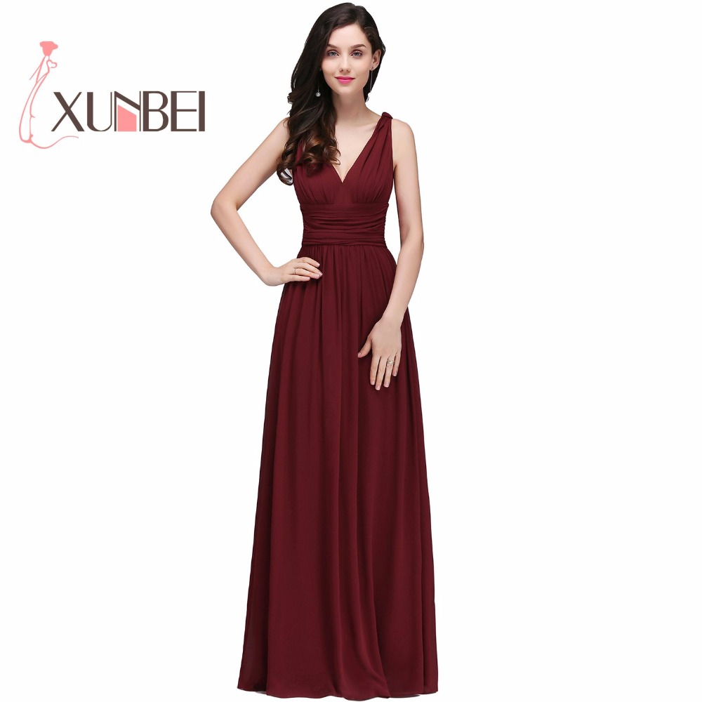 Robe demoiselle d'honneur A Line Burgundy Chiffon <font><b>Bridesmaid</b></font> <font><b>Dresses</b></font> Long <font><b>Sexy</b></font> V Neck Prom <font><b>Dresses</b></font> Party Gown image