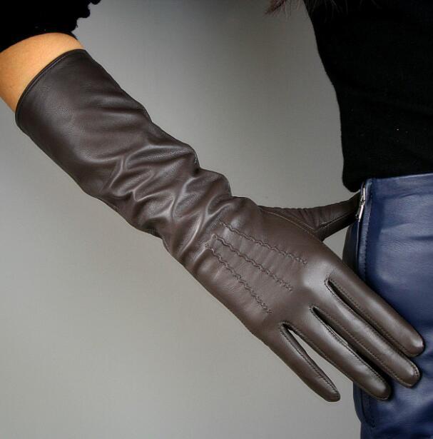 Women's Natural Sheepskin Leather Dark Brown Color Long Gloves Female Vintage Genuine Leather Long Driving Glove 40cm R1229