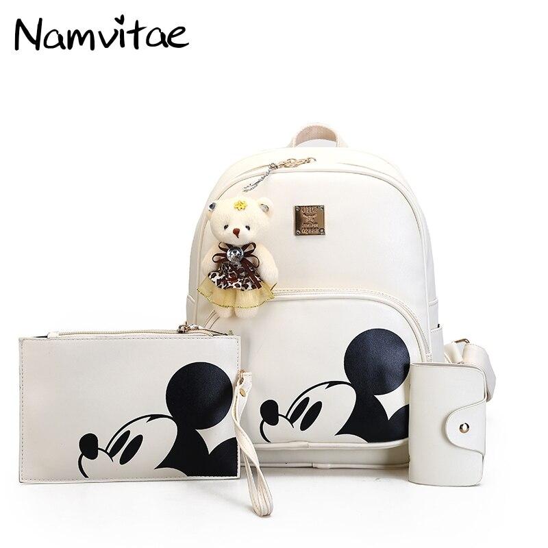 Namvitae Fashion Mickey Backpack High Quality Pu Leather Girls School Bags 3pcs/set Wome ...
