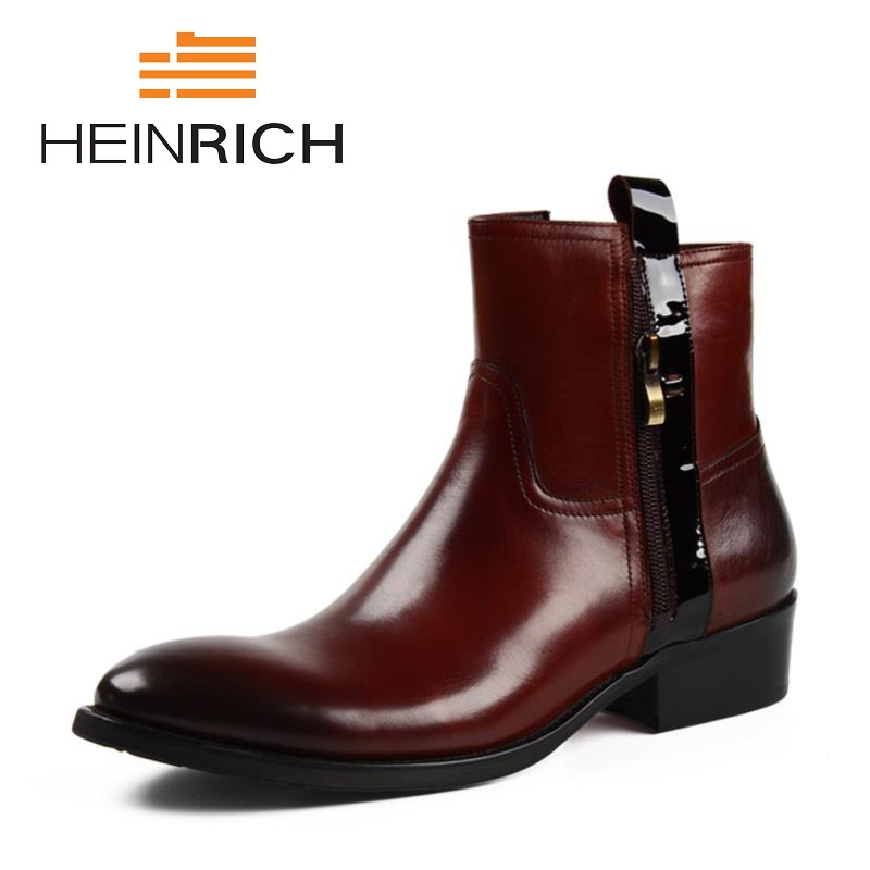 HEINRICH New Winter Men's Ankle Boots Blakc Shoes Man Leather Boots British Style Lightweight Platform Boots Stivaletti Uomo minglilai blakc sliver 37